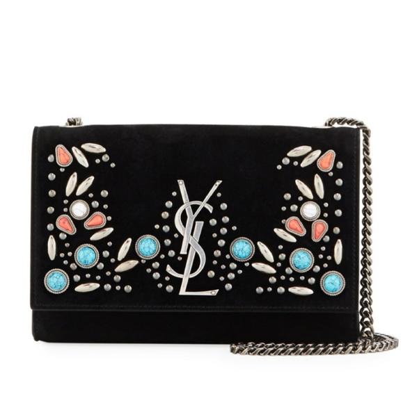 373232571fb8 ... saint laurent satchel in black grain  quite nice b705b f5b61 YSL Kate  Monogram Stone-Studded Crossbody Bag ...